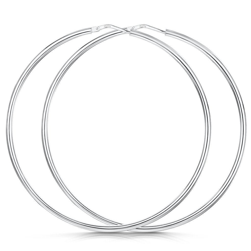 Amberta 925 Sterling Silver Fine Circle Hinged Hoops - Round Creole Sleeper Earrings Diameter Size: 7 10 15 20 25 35 45 55 mm (55mm)