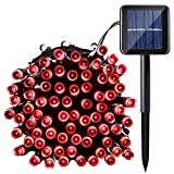 Qedertek Solar Christmas Lights, 40ft 100 LED Waterproof Outdoor Decoration Lighting for Indoor/Outdoor, Patio, Lawn, Garden, Christmas, and Holiday Festivals (Red)