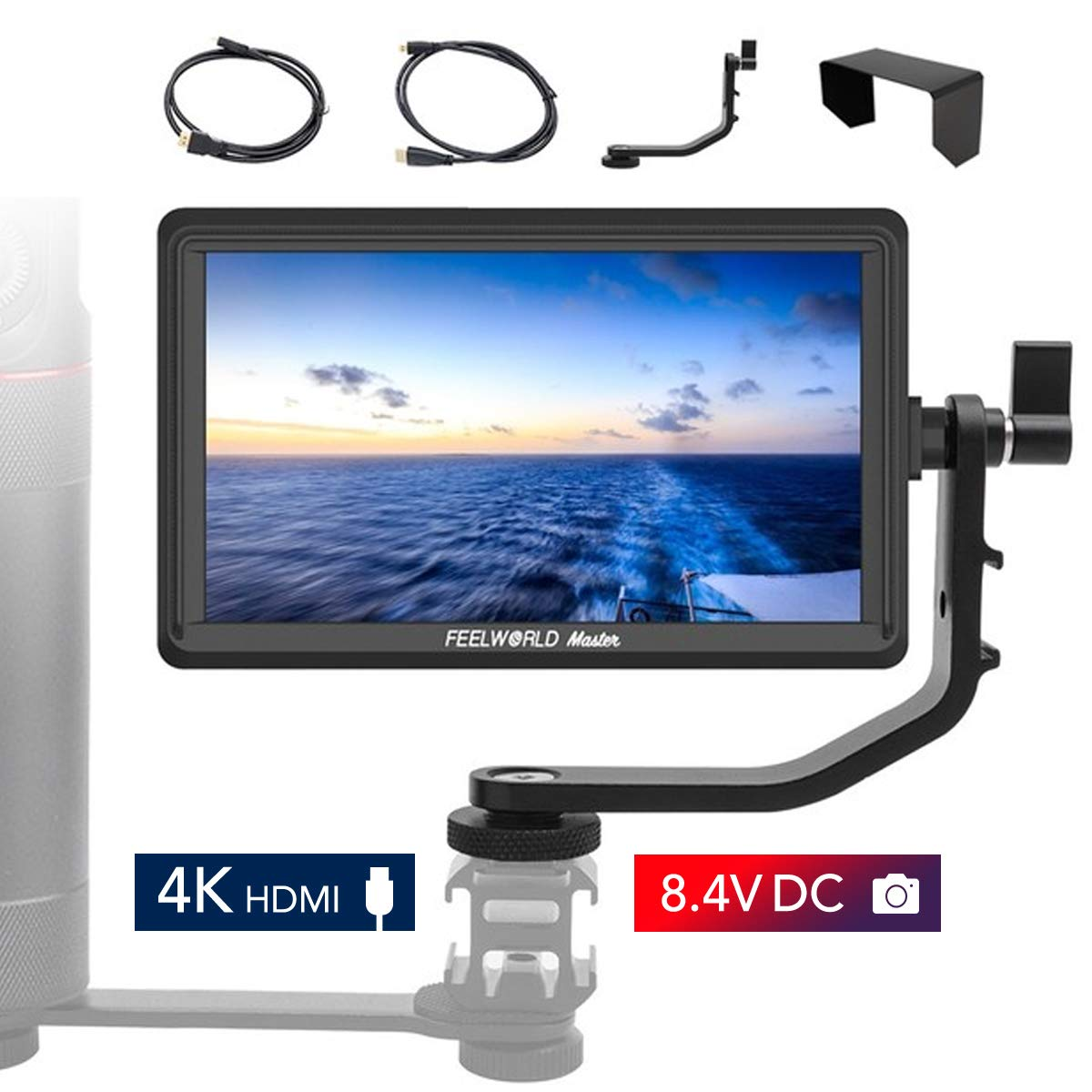 Feelworld Master MA6F 5.5 Inch DSLR Monitor 4K HDMI 8.4V DC in/Out, Full HD 1920x720p LCD Camera Field Monitor Tilt Arm Included by FEELWORLD