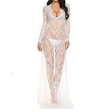 4e4f06a72 Imixcity Sexy Femme Deep V-cou à Manches Longues en Dentelle Robe  See-through Plage Nuit Robe Longue Bikini Cover Photographie Props