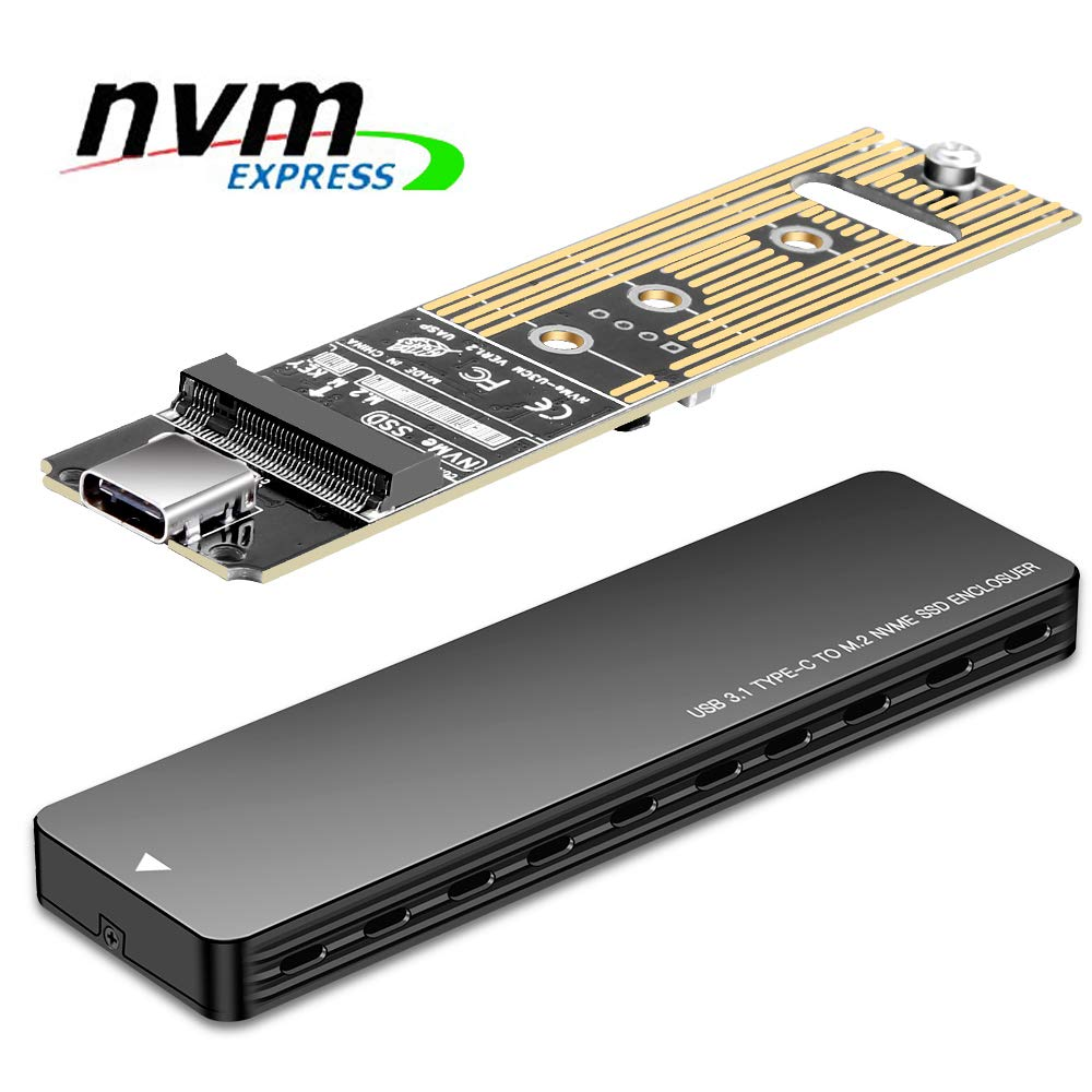 NVMe PCle M.2 SSD Enclosure USB 3.1 Type C 10Gbps M Key SSD External Hard Disk Case with Type C to Type A Cable,Support 2230 2242 2260 2280 Size SSD