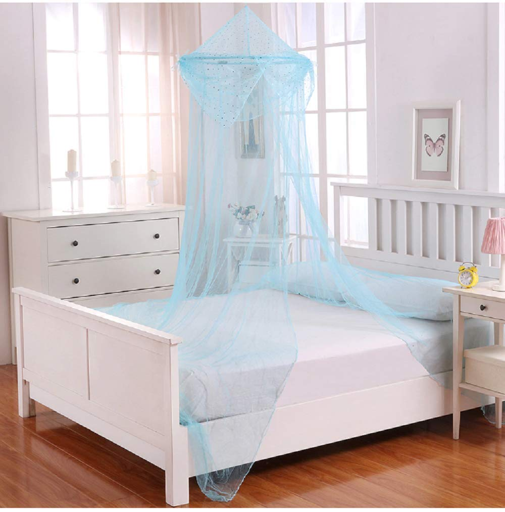 Collapsible Blue Sheer Bed Canopy For Kids Room Decor For Boys, Teen Girl Room Decor