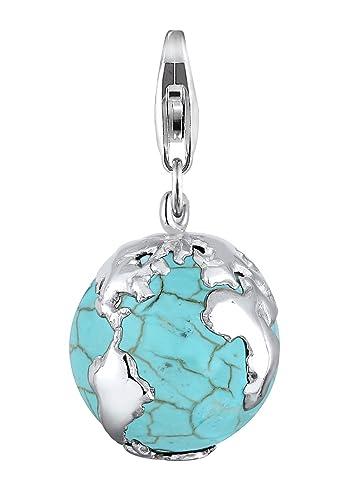 Elli Damen Schmuck Echtschmuck Charm Weltkugel Globus Weltenbummler Reisen  Sterling Silber 925 Howlith Blau  Amazon.de  Schmuck f882e30d24
