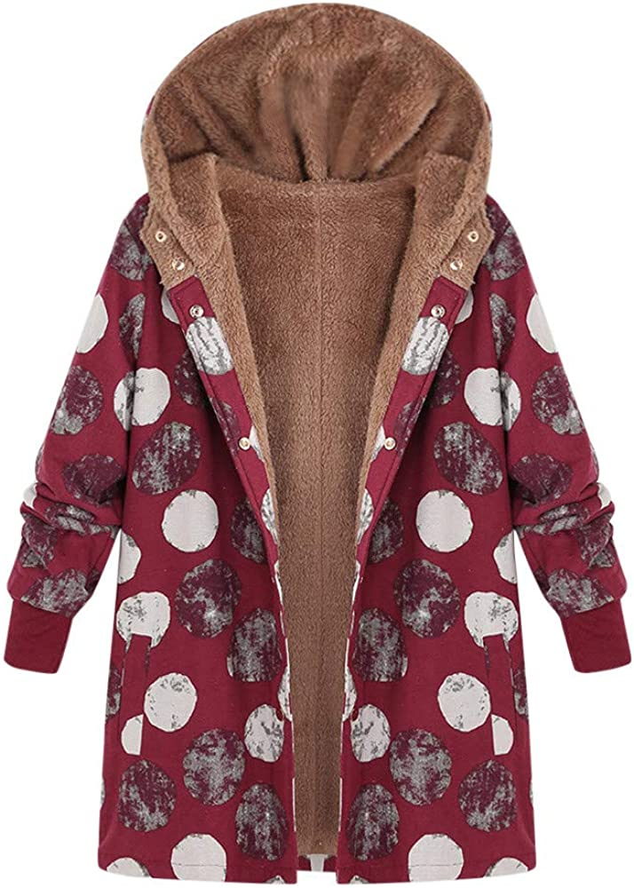 Womens Oversize Coats Winter Warm Floral Print Hooded Outwear Vintage Pockets Jacket Brown,S