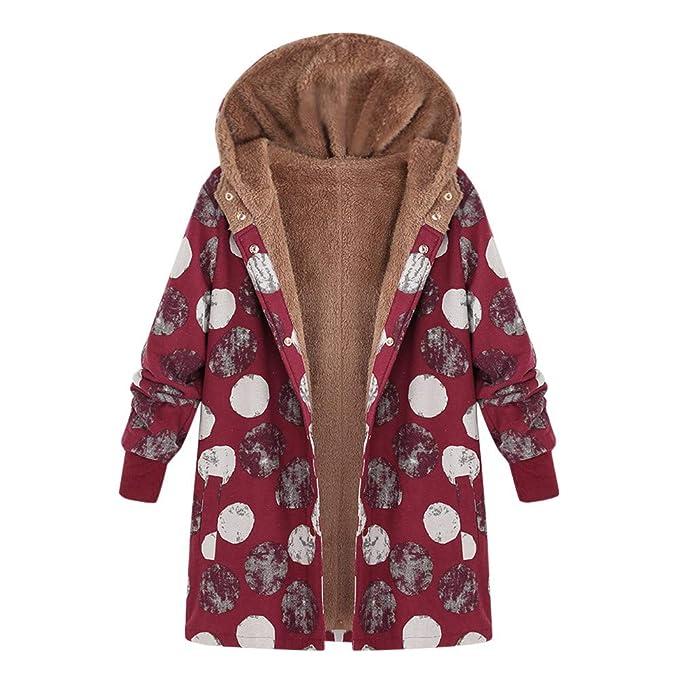 2018 Abrigo Invierno para Mujer Chaqueta Suéter Mujer Jersey Outwear Cardigan Mujer Tallas Grandes Outwear Floral Bolsillos con Capucha de Impresión ...