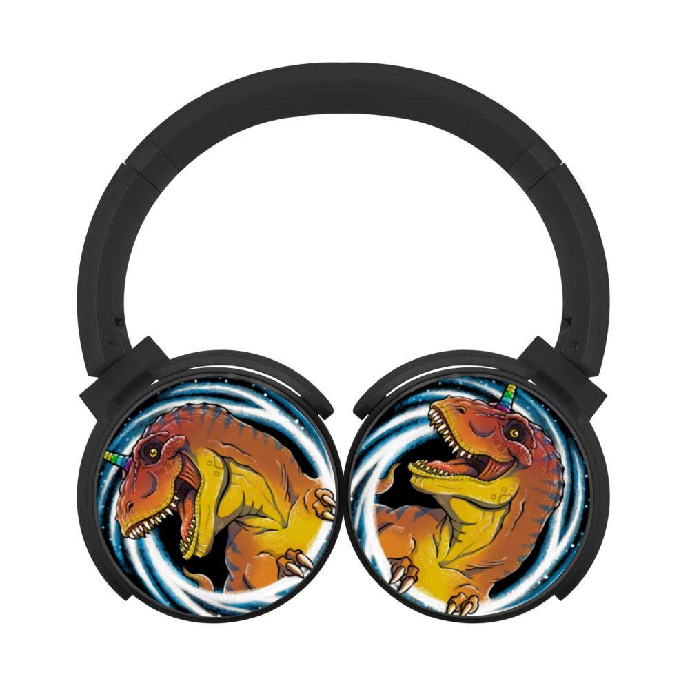 Cool Galaxy Dinosaurs 3D Printed Wireless Retractable Bluetooth Headphones Headsets Over Ear for Kids Or Adults Black