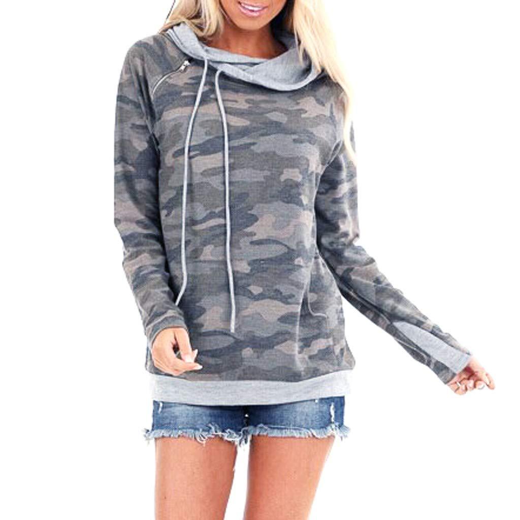 Hebe Top Women's Long Sleeve Soft Pocket Hoodies Camouflage Print Pullover Hooded Sweatshirt by ▶HebeTop◄➟HOT SALES