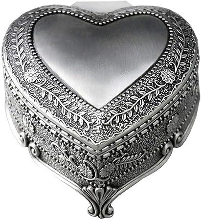 GWM Caja de Metal Vintage para Joyas con música – Joyero en Forma de corazón con Caja organizadora de Anillos, aretes, Lata Antigua, 8 x 8 x 5 cm: Amazon.es: Hogar