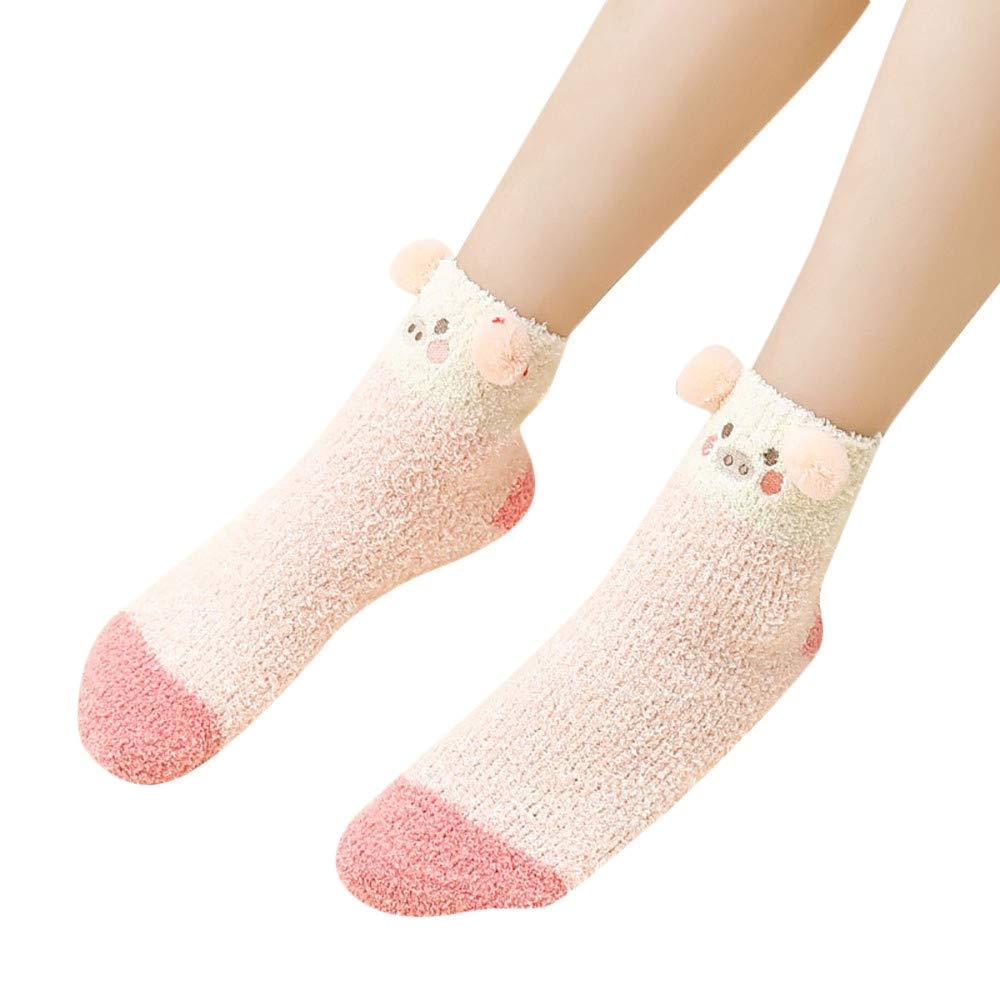 Fuzzy Socks, Seaintheson Ladies Girls Winter Warm 3D Cute Animal Socks Fuzzy Bed Sleep Slipper Socks Cozy Christmas Stockings