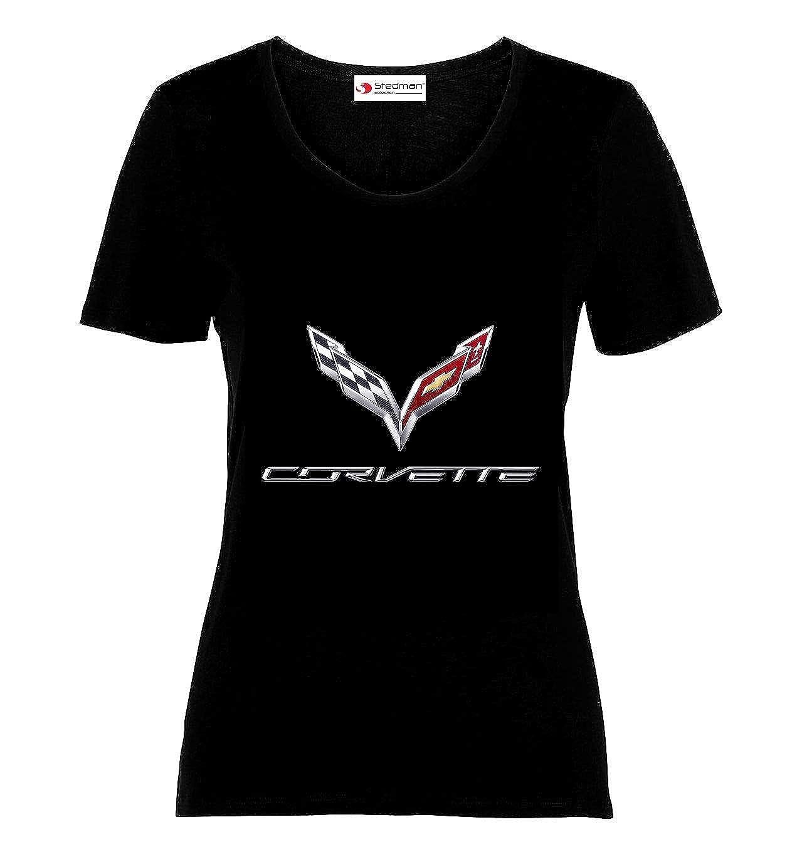 Chevrolet Corvette Logo Sport Car Femme Imprimer T-Shirts /à Manches Courtes