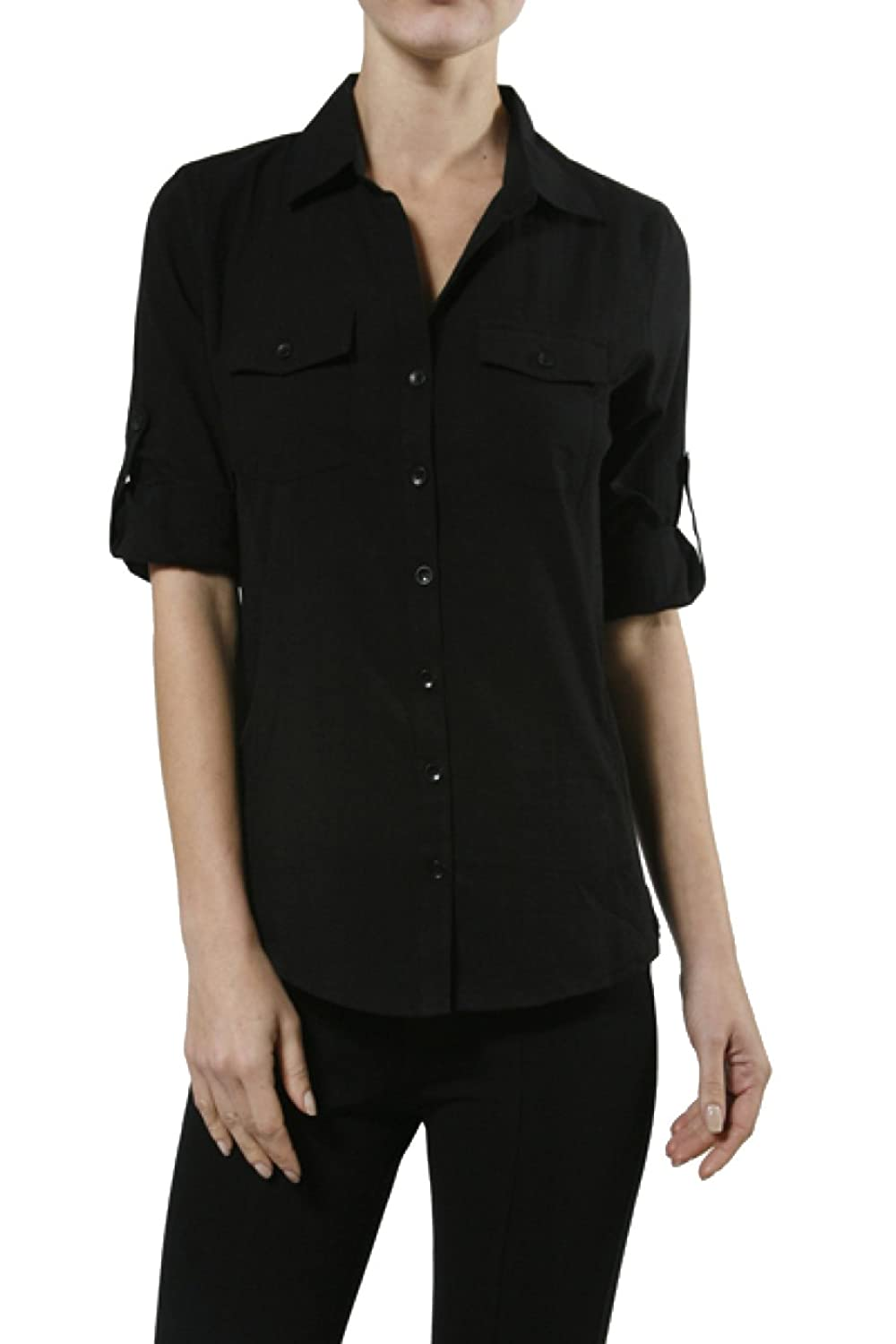 2LUV Women's 3/4 Sleeve Cotton Button Down Blouse