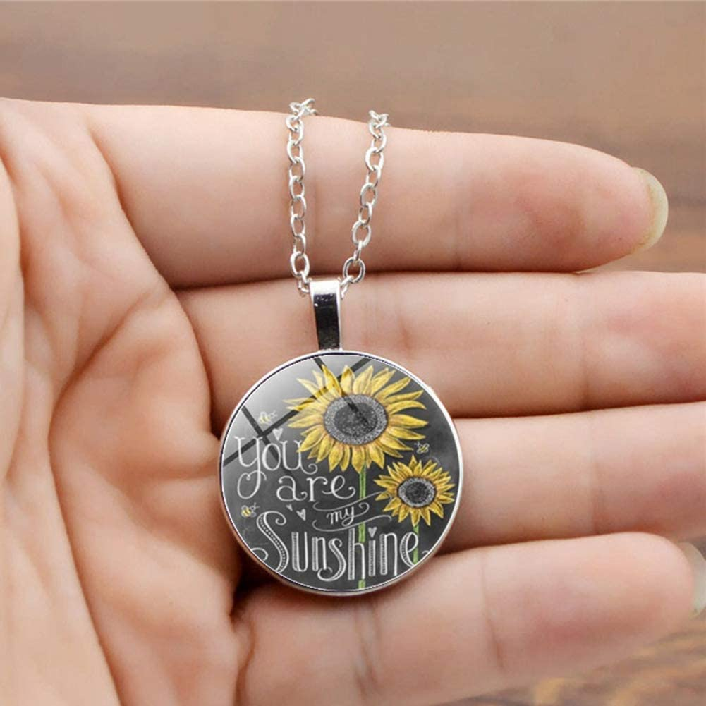 Gift for Women Kids Child Necklace adonpshy Valentines Day Wedding Anniversary Jewelry Vintage Sunflower You are My Sunshine Cabochon Glass Chain Necklace Jewelry
