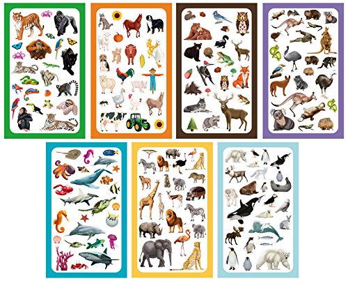 Koobar Animals of the World Sticker Variety Pack (300+ stickers) - Animals Sticker