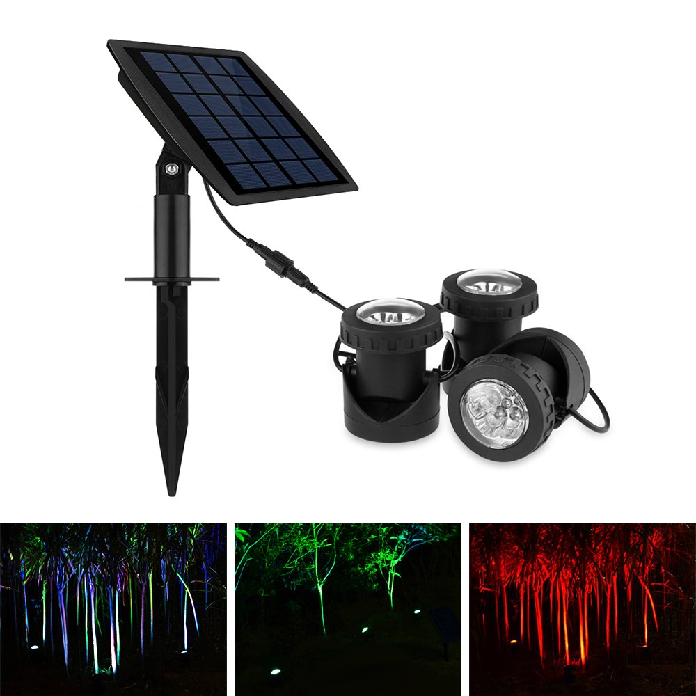 ALLOMN LED Submarine Light Underwater Projector Spotlight IP68 Waterproof with 3pcs Colorful Solar Powered RGB Lamp for Garden Landscape Park Rockery Pool Pond Corridor Fish Tank Aquarium