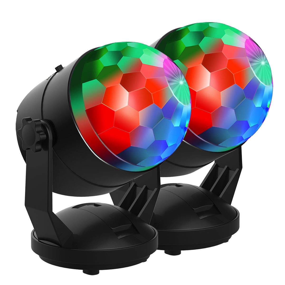 【New Arrival 6 Light Bulbs DJ Party Lights Sound Activated Disco Ball Strobe Light 7 Lighting Colors USB Battery Powered Perfect for Kids Festival Celebration Birthday Xmas Wedding Party 2 Packs
