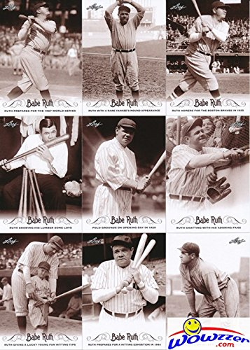 Babe Ruth 2016 Leaf Collection MASSIVE Complete 100 Card Master Set with all 80 Base Cards,10 Quotables & 10 Career Achievements Insert Cards! Incredible Looking Collection of Yankees HOF Legend! (Collections Babe)