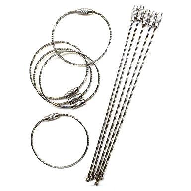Amazon.com: Llavero de alambre de acero inoxidable de 6,3 ...