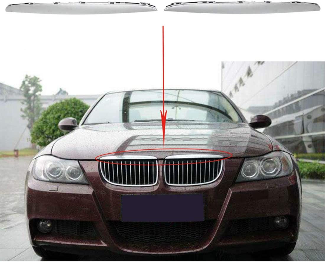 WFLNHB Qty2 R+L Hood Molding Chrome Trims Above Grille fit for BMW E90 E91 325i 330i