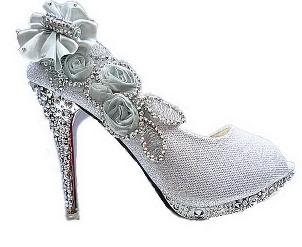 AalarDom Women's Sequins High-Heels Open Toe Pumps Shoes with Flowers and Glass Diamond, Silver-DOP, 37