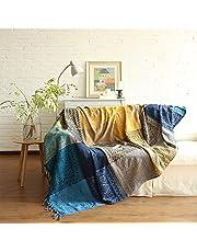 SHANNA Chenille gooi deken, vintage jacquard kwastjes dubbelzijdig patchwork deken warm decoratief voor thuiskantoor reizen