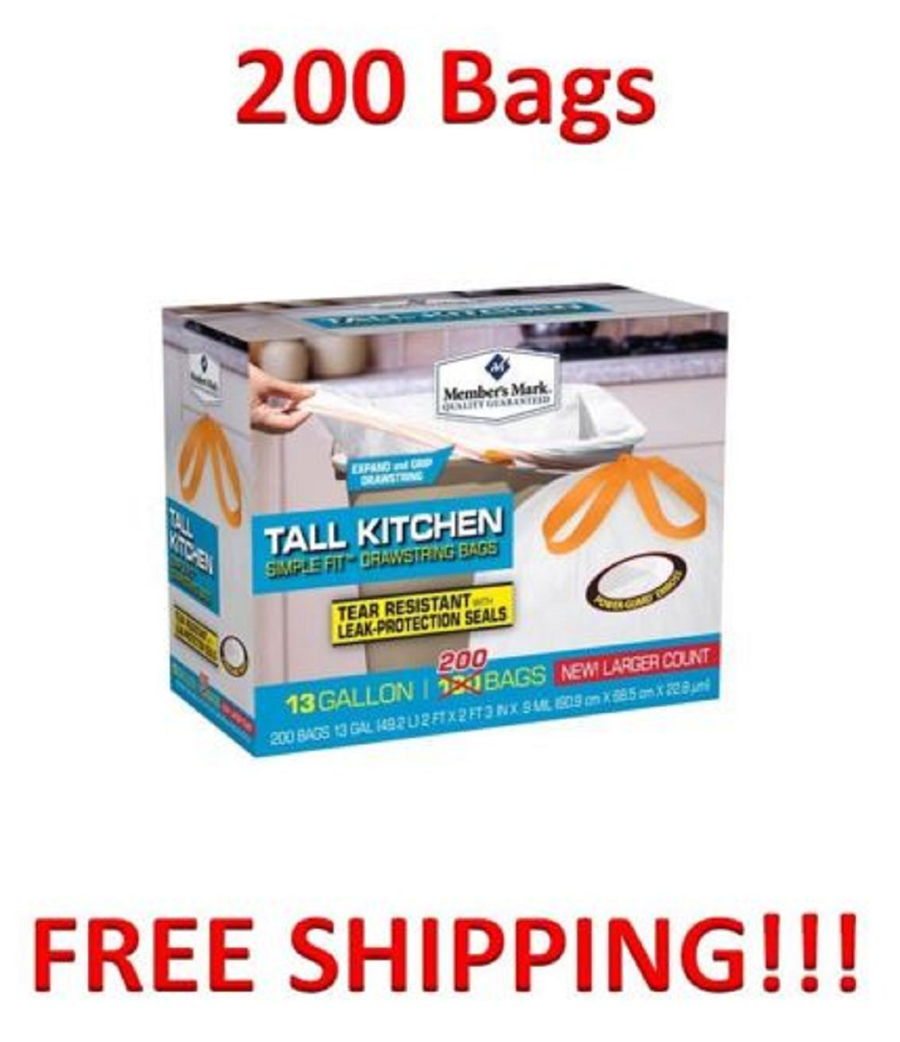 Amazon.com: TALL KITCHEN 200 Trash Garbage Tie Grip Drawstring ...