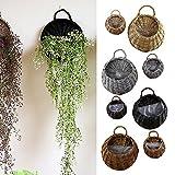 Beisaqi Garden Rattan Hanging Baskets Wicker Hanging Planter Plant Pots Rattan Wicker Flower Hanging Basket (L, Light Brown)