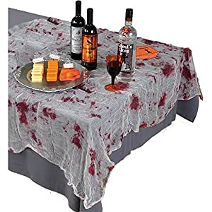 "Creepy Halloween Party Bloody Gauze Table Cover Decoration, Fabric, 60"" x 84"""