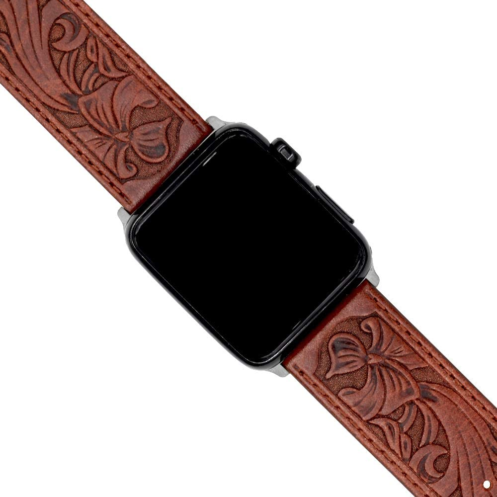 Ezzdo Band For Apple Watch Band 44mm 42mm, Leather Carved Handmade Bump Retro Genuine Leather Flower Replacement Strap For Men Women Brown Bracelet For Iwatch 44mm Series 6 SE 5 4 3 2 1 (Red Brown 42mm)