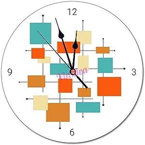 VinMea Round Battery Operated Wall Clock Mid Century Modern Retro Orange Turquoise Decorative Home Decor Wall Clock Round,12 Inch