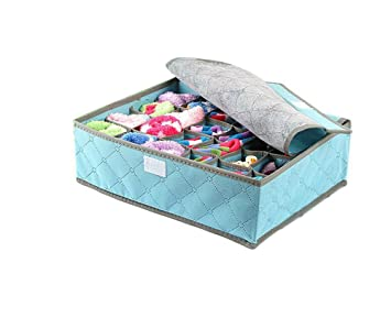 Foldable Bedroom Drawer Organizers Underwear Bras Socks And Lingerie  Storage Boxes With Lid (Blue)