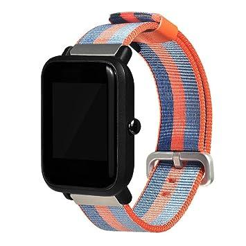 prevently marca Fashion Sports reloj correa correas de repuesto correa de rayas Nylon banda para Xiaomi huami amazfit bip jóvenes reloj, naranja: Amazon.es: ...