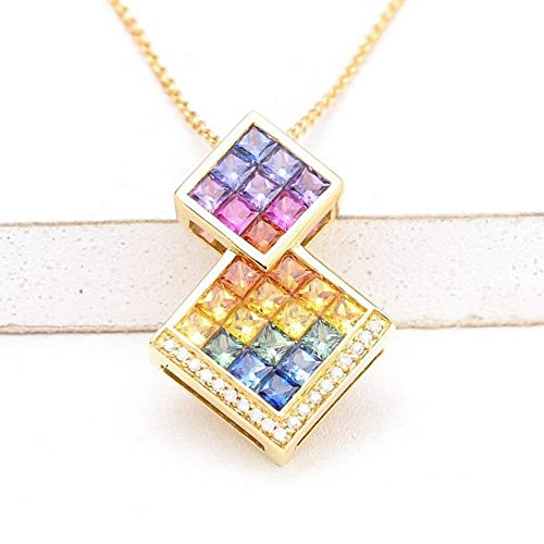 89dbd12170 Image Unavailable. Image not available for. Color: EQUALLI Layla Rainbow  Sapphire & Diamond Pendant in 18K Gold