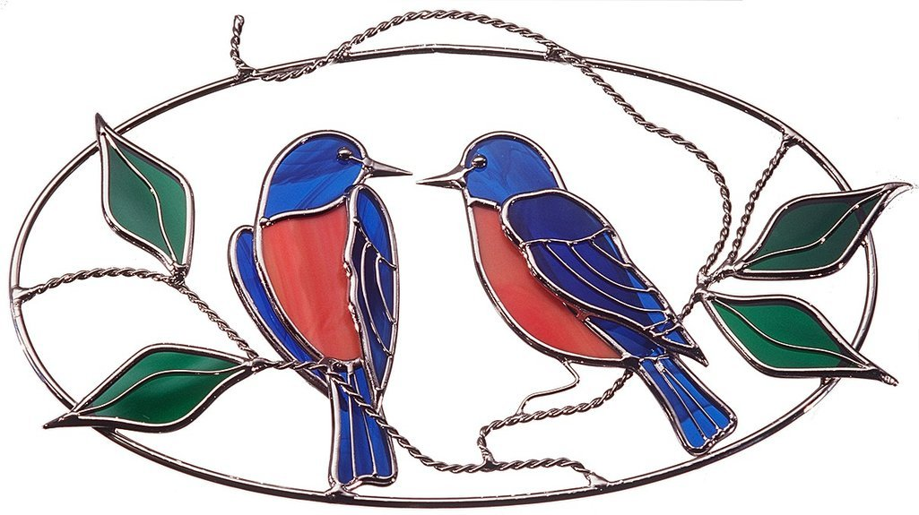 Bluebirds made from Real Stained Glass on Wire Oval Ring