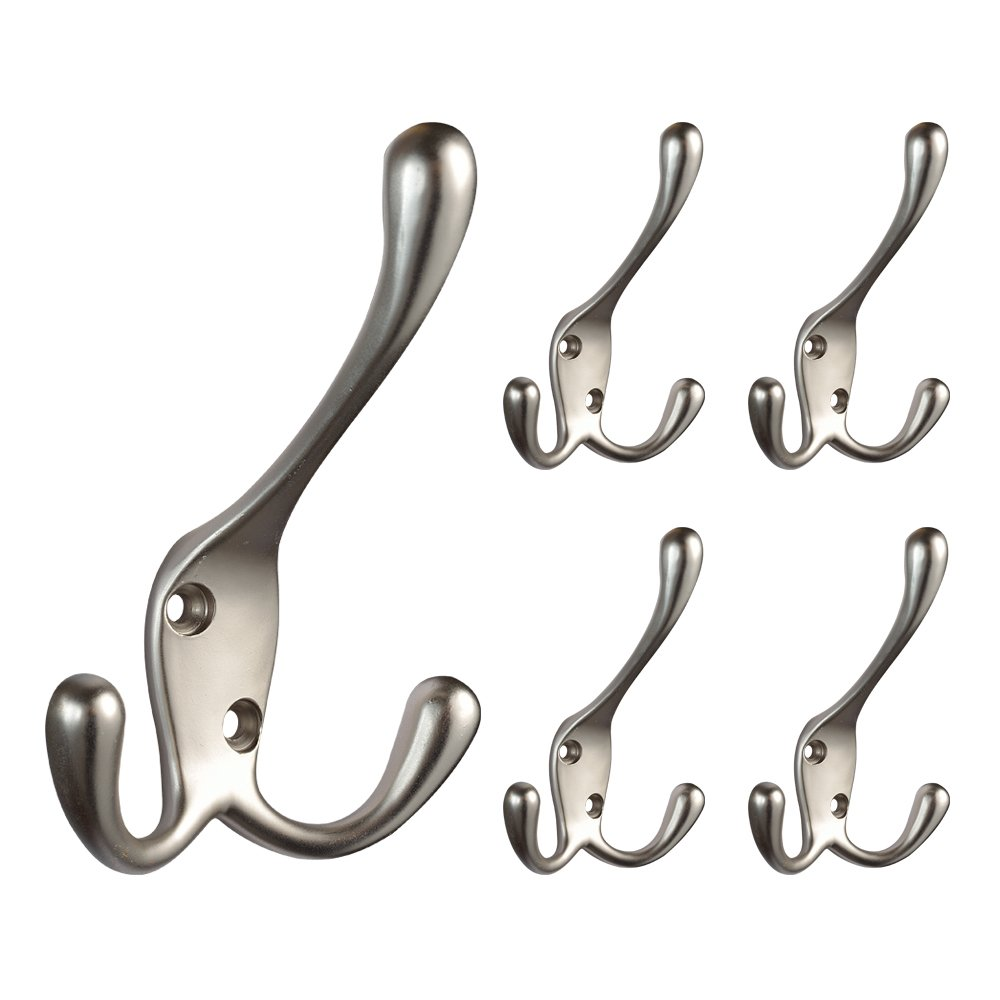 Franklin Brass B42306M-SN-C Hook With Three Prongs (5 Pack), Satin Nickel