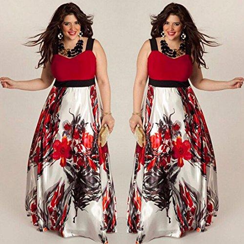 Bekleidung Longra Sommerkleid Plus Size Damen Blumen gedruckt lange ...