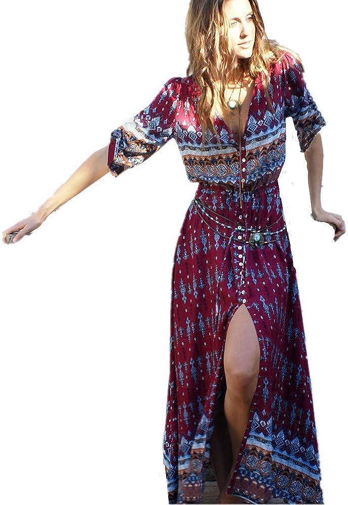 Estivi Vestiti Casual Vintage Maxi Abito Abiti Donna Formale Vestiti Estate Abiti Donna Eleganti Lunghi Vestito Cerimonia ShangSRS Boemia Abiti Lunghi Donna Eleganti