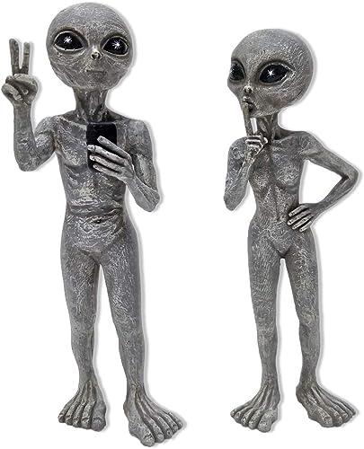 Alien Invasion Standing Alien Statues Peace Quiet 10 H UFO Extraterrestrial Figurine Garden Stakes Set Alien Gray