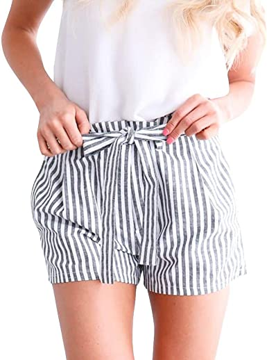 Womens Shorts Plus Size Summer Solid Multi Pockets Elastic Waist Wide Leg Pants with Pockets Casual Beach Hot Shorts