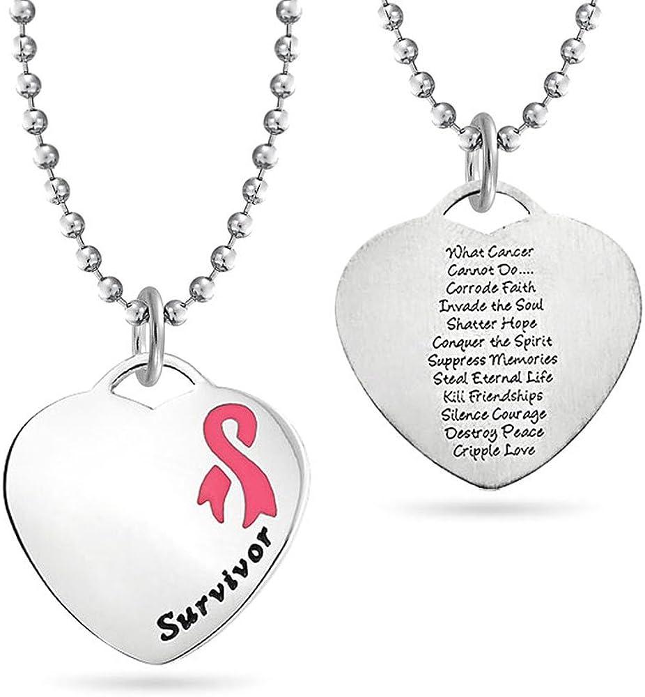 Bling Jewelry Forma Corazón Poema Pink Lazo Sobreviviente De Cáncer De Seno para Mujer Colgante Collar Acero Inoxidable De Tono Plata
