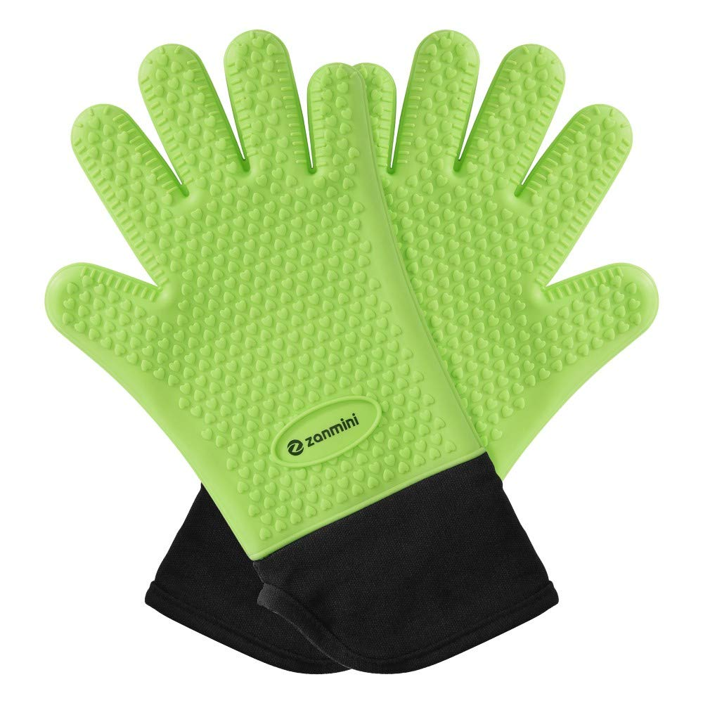 Mudent Silicone Cooking Gloves - Heat Resistant Oven Mitt - Safe Handling of Pots and Pans - Cooking & Baking Non-Slip Potholders for Men Women, Grilling, BBQ, Kitchen, Baking