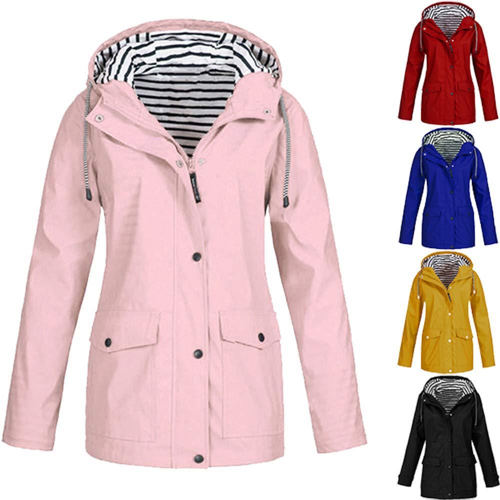 Amazon.com: Oliviavan Solid Rain Jacket Outdoor Plus Waterproof Hooded Raincoat Windproof: Clothing
