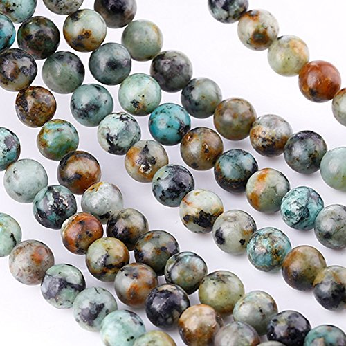 Bingcute 6mm Natural African Turquoise Stone Beads for Necklace Gemstone Loose Beads 15.5One String