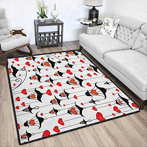 Love Large Rug Mat,Lanterns and Heart for Valentines Day Small Lamp Classic Antique for Hard Floors Vermillion Scarlet White Black 67