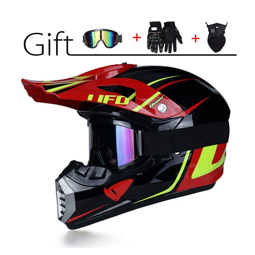 Adulti Casco da Cross Moto Sports DH Enduro off-Road Caschi ATV MTB Quad Casco da Motociclista per Uomini Donne LEENY Casco di Motocross Set con Occhiali//Maschera//Guanti Tema UFO