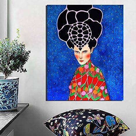 YuanMinglu Cartel nórdico Cool Girl Art Print Lienzo Pintura Sala de Estar decoración del hogar Moderno Arte de la Pared Pintura al óleo póster Cuadro sin Marco Pintura 45x56cm