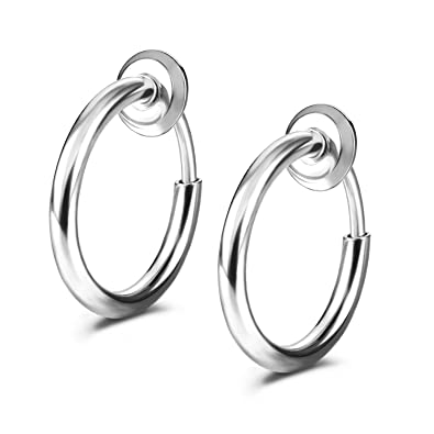 Amazoncom Jewelrieshop Spring Hoop Earrings Clip On Earrings Fake