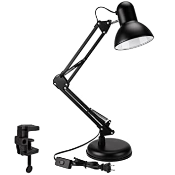 Metal Swing Arm Desk Lamp, Interchangeable Base Or Clamp, Classic Architect  Clip On Table