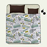 smallbeefly Steam Engine Flannel blanket Choo Choo Train Kids Boy Pattern Blue Green Number Plate Vintage Printblanket queen size White Green Blue