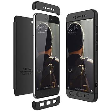 CE-Link Funda Xiaomi Redmi Note 5A Carcasa Fundas para Xiaomi Redmi Note 5A 360 3 en 1 Desmontable Ultra-Delgado Anti-Arañazos Case Protectora - Negro