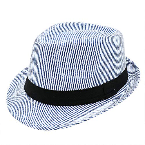 (PanPacSight Unisex Cotton Pinstripe Stingy Short Brim Fedora Hat Gangster Cuban Style Cap Spring Summer Blue)